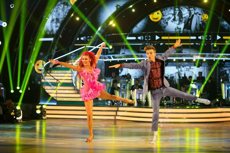 Jive: Joe Sugg and Dianne Buswell danced to Take On Me last weekend (BBC/Guy Levy)