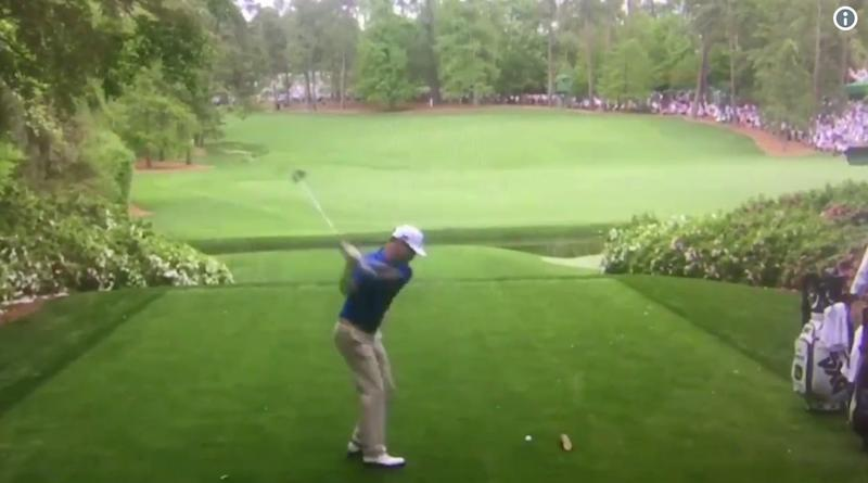 Zach Johnson accidentally hits ball during practice swing