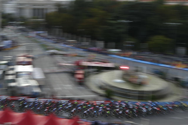 Riders arrive in the Spanish capital during the La Vuelta cycling race in Madrid, Spain, Sunday, Sept. 15, 2019. (AP Photo/Manu Fernandez)
