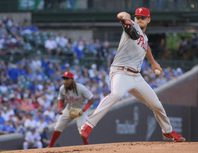 Philadelphia Phillies starting pitcher Cole Irvin throws to a Chicago Cubs batter during the first inning of a baseball game Wednesday, May 22, 2019, in Chicago. (AP Photo/Mark Black)