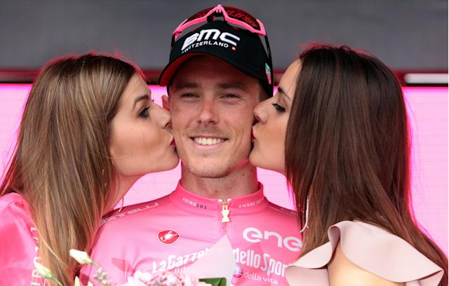 Cycling - the 101st Giro d'Italia cycling race - The 229-km Stage 3 from Beersheba to Eilat, Israel - May 6, 2018 - BMC Racing Team rider Rohan Dennis of Australia celebrates with the pink leader's jersey after the 3rd stage in Eilat, Israel. REUTERS/Nir Keidar