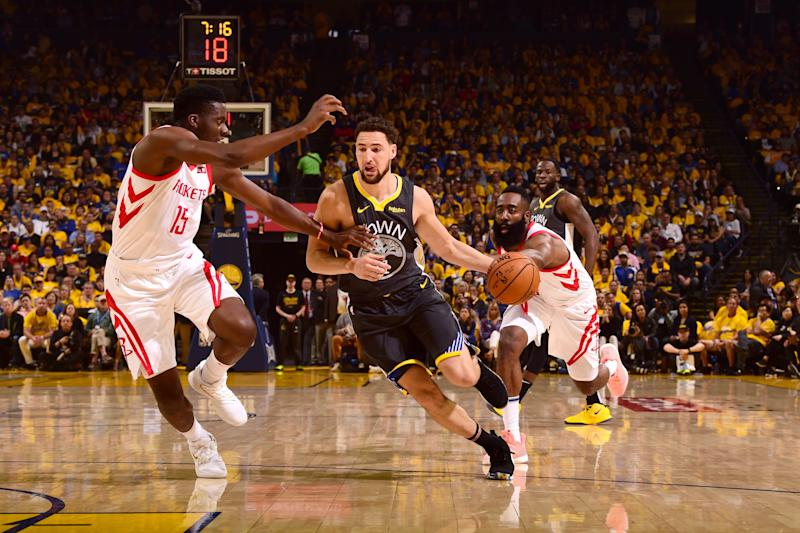 Klay Thompson was part of a balanced Golden State effort to take a 2-0 series lead over Houston. (Getty)