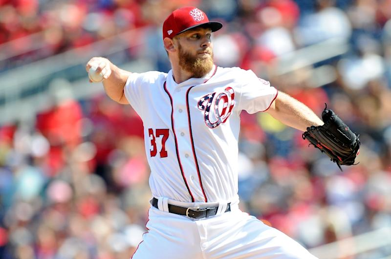 Stephen Strasburg of the Washington Nationals pitches in the first inning against the Philadelphia Phillies, at Nationals Park in Washington, DC, on September 10, 2017