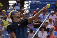 Alexander Zverev, of Germany, serves to Andrey Rublev, of Russia, during the men's single final of the Western & Southern Open tennis tournament, Sunday, Aug. 22, 2021, in Mason, Ohio. (AP Photo/Darron Cummings)
