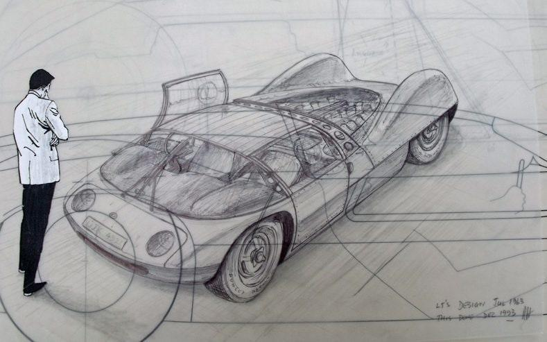 Ron Hickman design drawing for a still born Lotus