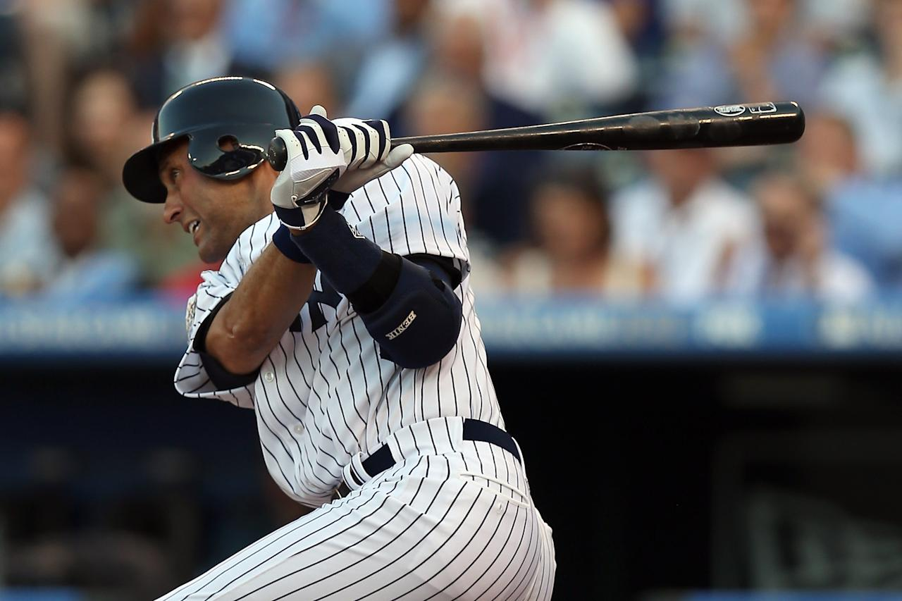 KANSAS CITY, MO - JULY 10:  American League All-Star Derek Jeter #2 of the New York Yankees at bat in the first inning during the 83rd MLB All-Star Game at Kauffman Stadium on July 10, 2012 in Kansas City, Missouri.  (Photo by Jonathan Daniel/Getty Images)