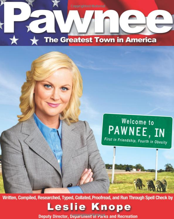 "<p>Nobody loves Pawnee more than <a href=""https://www.yahoo.com/entertainment/parks-and-recreation-leslie-knope-writes-letter-to-america-following-donald-trumps-victory-142904267.html"" data-ylk=""slk:Leslie Knope;outcm:mb_qualified_link;_E:mb_qualified_link"" class=""link rapid-noclick-resp newsroom-embed-article"">Leslie Knope</a>, and here she recounts a lot of interesting history, from the '70s cult that took over, to the fire that consumed the entire town, to the never-ending raccoon infestation. <a href=""https://www.amazon.com/Pawnee-Greatest-America-Leslie-Knope/dp/1401310648"" rel=""nofollow noopener"" target=""_blank"" data-ylk=""slk:As she bills Pawnee"" class=""link rapid-noclick-resp"">As she bills Pawnee</a>, it's ""more exciting than New York, more glamorous than Hollywood, roughly the same size as Bismarck, North Dakota."" (Photo: Amazon.com) </p>"