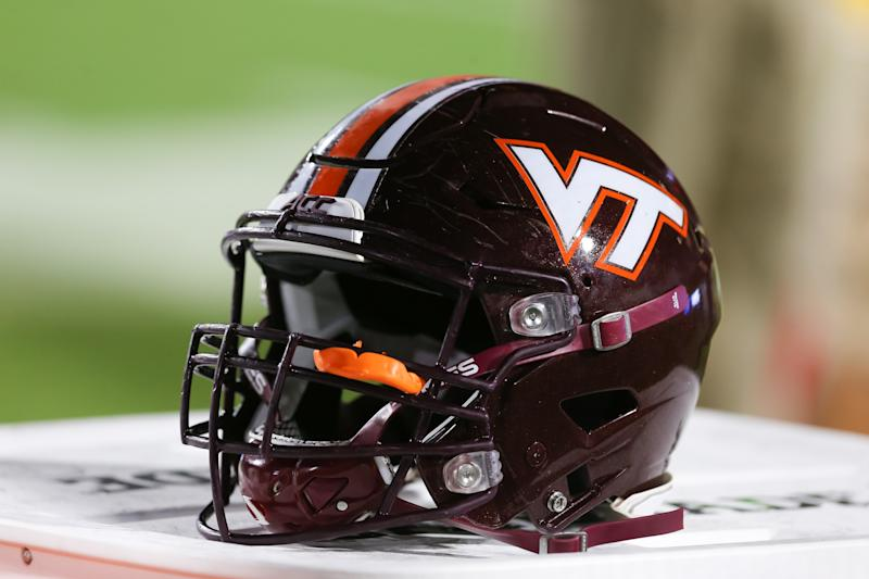 DURHAM, NC - SEPTEMBER 29: A Virginia Tech Hokies helmet on the sidelines during the game against the Duke Blue Devils on September 29, 2018 at Wallace Wade Stadium in Durham, NC. (Photo by Brian Utesch/Icon Sportswire via Getty Images)