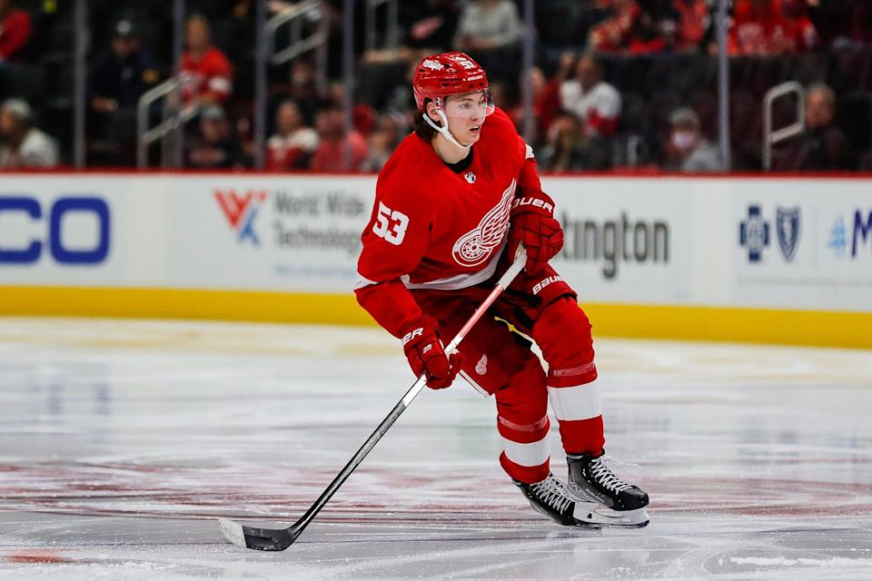 Red Wings defenseman Moritz Seider looks on during the third period of the Wings' 6-2 preseason win at Little Caesars Arena on Thursday, Sept. 30, 2021.
