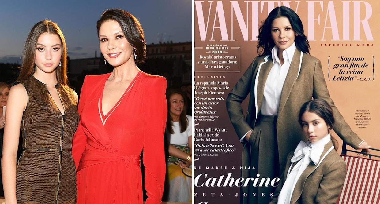 Vanity Fair April 2020.Catherine Zeta Jones And Daughter Cary Douglas Star On