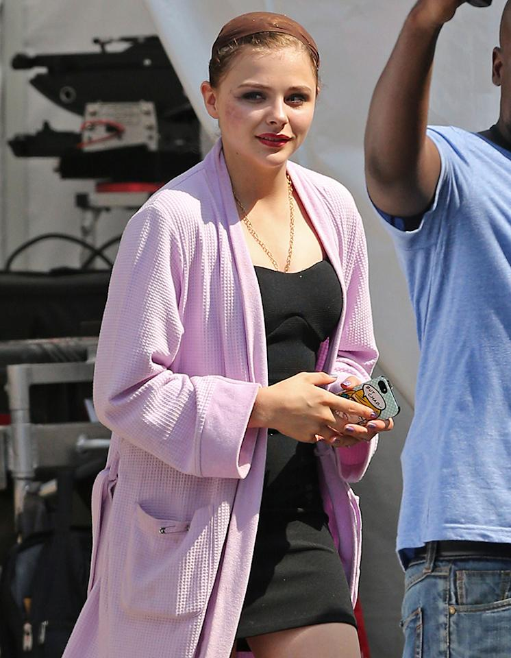 51156790 Actress Chloe Grace Moretz leaving the set of ?The Equalizer? with a black and blue bruise on her right cheek and wearing Uggs on another 90  degree day in Chelsea, Massachusetts on July 17, 2013. In the film Chloe plays a prostitute along side co-star Denzel Washington. FameFlynet, Inc - Beverly Hills, CA, USA -  1 (818) 307-4813