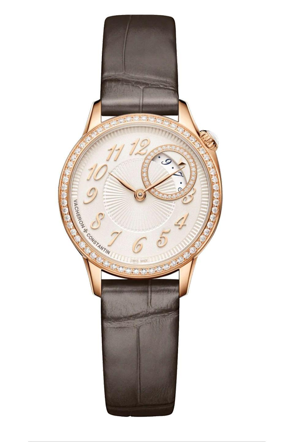 """<p><strong>Vacheron Constantin</strong></p><p>vacheron-constantin.com</p><p><strong>$18700.00</strong></p><p><a href=""""https://www.vacheron-constantin.com/en2/watches/egerie/egerie-quartz-1205f-000r-b622.html"""" rel=""""nofollow noopener"""" target=""""_blank"""" data-ylk=""""slk:Shop Now"""" class=""""link rapid-noclick-resp"""">Shop Now</a></p><p>Refined elegance in a skin-tone flattering rose gold hue, perfect for when you want to mix-and-match metals.</p>"""