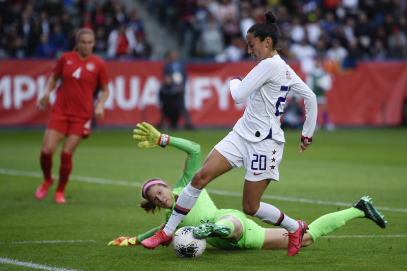 Christen Press can make a strong case for starting up top for the USWNT. (Kelvin Kuo-USA TODAY Sports)