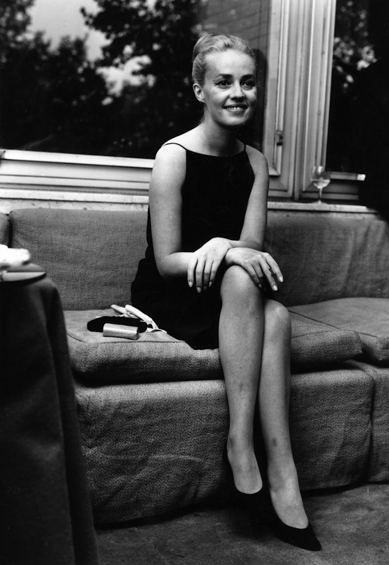 Jeanne Moreau announcing her engagement to Pierre Cardin, 1962.