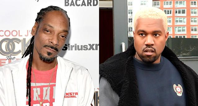 "Snoop Dogg trolls Kanye West with Photoshopped ""all white"" image of the rapper. (Photo: Getty Images)"