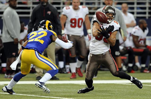 Tampa Bay Buccaneers wide receiver Vincent Jackson, right, bobbles the ball before catching it for a 19-yard gain as St. Louis Rams cornerback Trumaine Johnson watches during the second quarter of an NFL football game on Sunday, Dec. 22, 2013, in St. Louis. (AP Photo/L.G. Patterson)