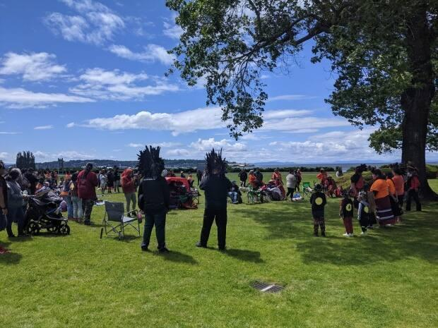 A smudging ceremony at Peace Arch Provincial Park was hosted by the Lummi Nation, Saturday afternoon, to the mourn the loss of the 215 Indigenous children the Tk'emlúps te Secwépemc First Nation says are buried beneath the Kamloops Indian Residential School.