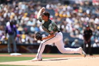San Diego Padres starting pitcher Reiss Knehr delivers against the Colorado Rockies in the first inning of a baseball game Sunday, Aug. 1, 2021, in San Diego. (AP Photo/Derrick Tuskan)