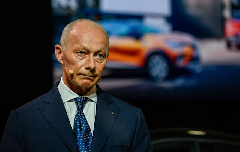 FRANKFURT AM MAIN, GERMANY - SEPTEMBER 10: Chairman of Renault Thierry Bollore presents the new Renault Captur at the Renault press conference at the IAA Frankfurt Motor Show on September 10, 2019 in Frankfurt am Main, Germany. The latest electric car technology is among the highlights of this years show. The IAA will be open to the public from September 12 through 22. (Photo by Sascha Schuermann/Getty Images)