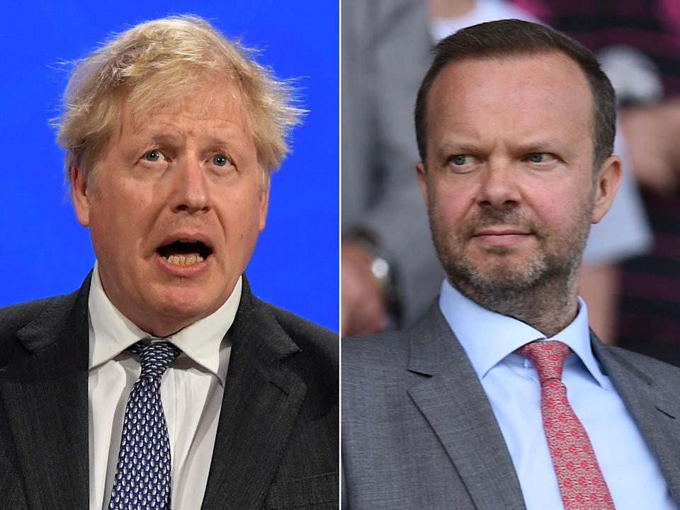 <p>Boris Johnson and Ed Woodward met at Downing Street</p> (AFP/Getty)