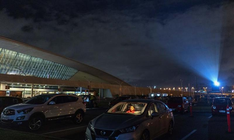 The Carrasco international airport, on the outskirts of Montevideo, Uruguay, has been converted into a drive-in cinema.