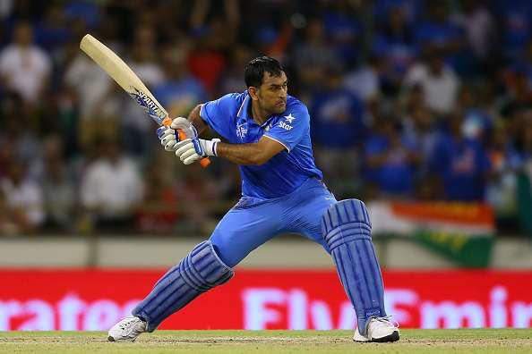 PERTH, AUSTRALIA - MARCH 06: MS Dhoni of India bats during the 2015 ICC Cricket World Cup match between India and the West Indies at WACA on March 6, 2015 in Perth, Australia. (Photo by Paul Kane/Getty Images)