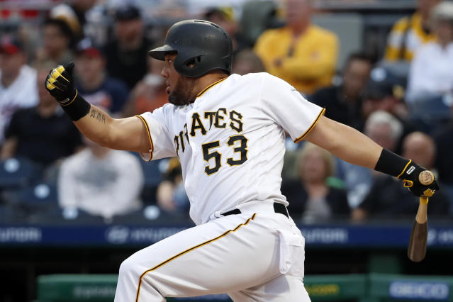 Pittsburgh Pirates' Melky Cabrera follows through on an RBI single off Atlanta Braves starting pitcher Max Fried during the second inning of a baseball game in Pittsburgh, Tuesday, June 4, 2019. (AP Photo/Gene J. Puskar)