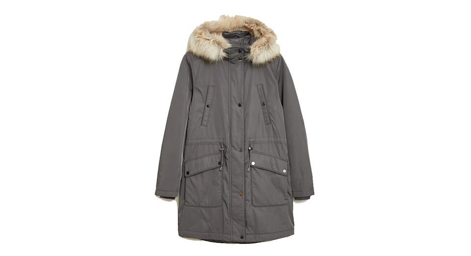 Textured Waisted Parka Coat