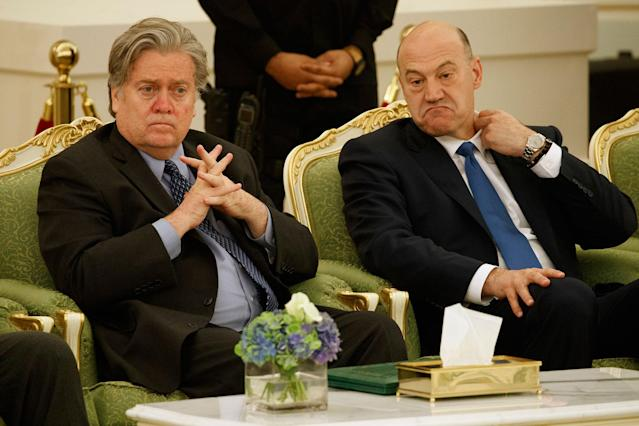<p>White House chief strategist Steve Bannon, left, and chief economic adviser Gary Cohn watch a signing ceremony between President Donald Trump and Saudi King Salam at the Royal Court Palace, Saturday, May 20, 2017, in Riyadh. (Photo: Evan Vucci/AP) </p>