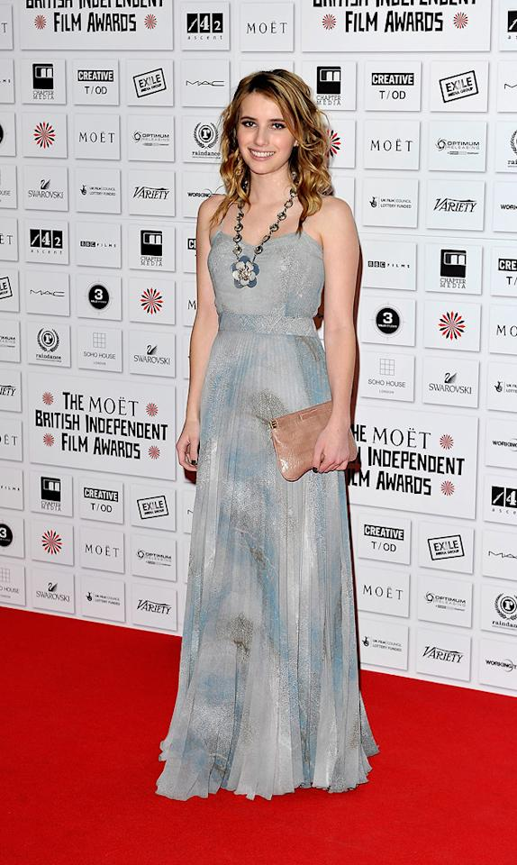 """<a href=""""http://movies.yahoo.com/movie/contributor/1804508466"""">Emma Roberts</a> attends the Moet British Independent Film Awards on December 5, 2010."""