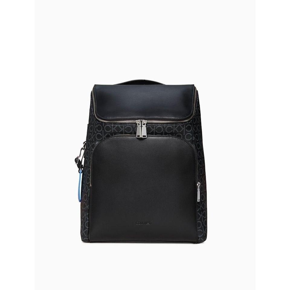 """<p><strong>Calvin Klein</strong></p><p>calvinklein.us</p><p><strong>$125.65</strong></p><p><a href=""""https://go.redirectingat.com?id=74968X1596630&url=https%3A%2F%2Fwww.calvinklein.us%2Fen%2Fmens-clothing%2Fshoes-accessories-mens%2Fmens-bags%2Frefined-monogram-logo-backpack-46309958&sref=https%3A%2F%2Fwww.seventeen.com%2Flife%2Ffriends-family%2Fg1088%2Fholiday-gifts-for-dad%2F"""" rel=""""nofollow noopener"""" target=""""_blank"""" data-ylk=""""slk:Shop Now"""" class=""""link rapid-noclick-resp"""">Shop Now</a></p><p>Dad'll look soooo fly rolling up to his board meeting carrying this sleek backpack.</p>"""