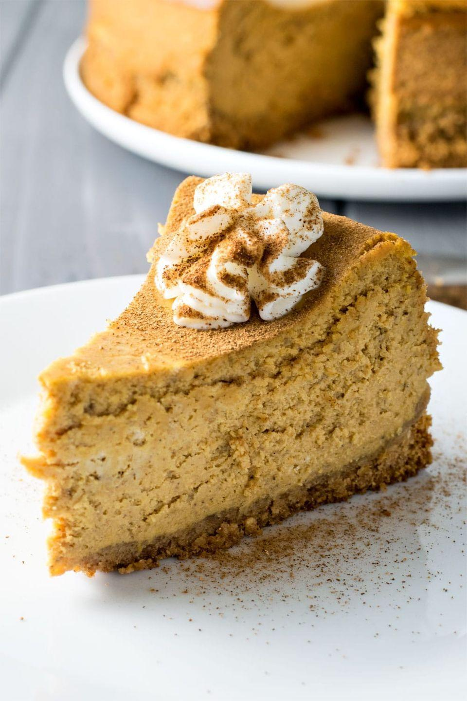 """<p>Rethink that pumpkin pie you were going to serve on Turkey Day.</p><p>Get the recipe from <a href=""""http://homemadehooplah.com/recipes/classic-pumpkin-spice-cheesecake/#comments"""" rel=""""nofollow noopener"""" target=""""_blank"""" data-ylk=""""slk:Homemade Hooplah"""" class=""""link rapid-noclick-resp"""">Homemade Hooplah</a>.</p>"""