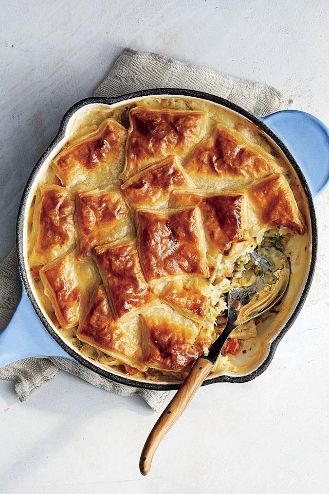 "<p><b>Recipe: <a href=""https://www.southernliving.com/recipes/skillet-chicken-pot-pie-puff-pastry"">Skillet Pot Pie with Chicken and Spring Vegetables</a></b></p> <p>In search of the perfect weeknight dinner to feed the whole family? Look no further than this Skillet Pot Pie.</p>"