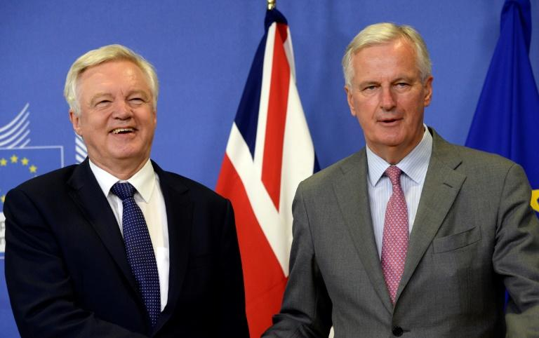 Britain's Brexit Minister David Davis (L) and European Union Chief Negotiator in charge of Brexit negotiations Michel Barnier pictured prior to their meeting at the European Union Commission headquarter in Brussels on July 17, 2017