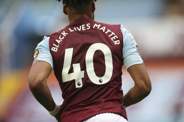 'Black Lives Matter' replaced player names on the back of the shirts (Carl Recine/NMC Pool/PA)