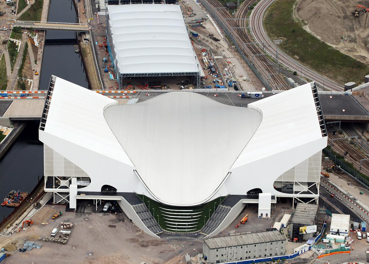 LONDON, ENGLAND - JULY 26:  Aerial view of the Aquatics Centre which will host Swimming events with the Water Polo Arena which will host Water Polo during the London 2012 Olympic Games on July 26, 2011 in London, England.  (Photo by Tom Shaw/Getty Images)