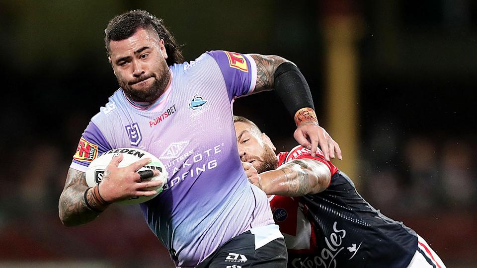 Andrew Fifita is seen here taking the ball up for the Sharks in 2020.