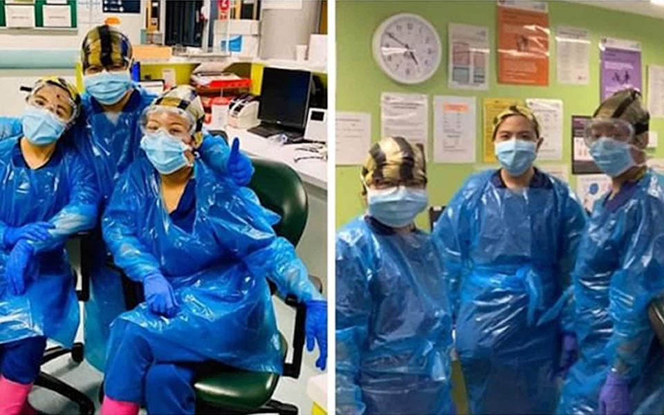 Nurses at Northwick Park Hospital, in Middlesex, pictured wearing bin bags on their heads and feet due to a lack of PPE