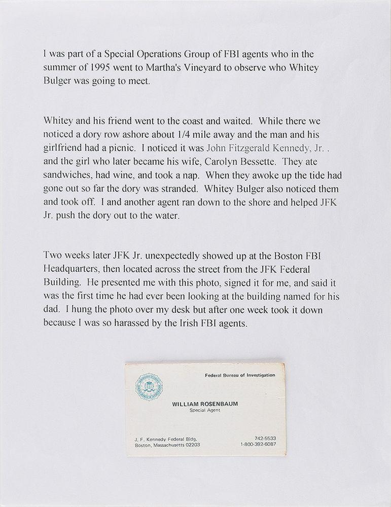 FBI special agent William Rosenbaum's letter of explanation about his run-in with John F. Kennedy Jr. | The Ronnie Paloger JFK Collection / RR Auction