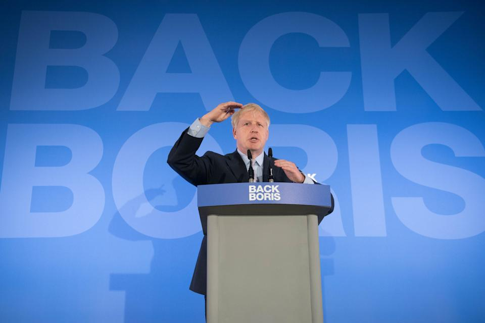 RETRANSMITTED AMENDING LOCATION Boris Johnson during the launch of his campaign to become leader of the Conservative and Unionist Party and Prime Minister at the Royal Academy of Engineering in central London. (Photo by Stefan Rousseau/PA Images via Getty Images)