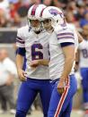 Buffalo Bills' Shawn Powell (6) and Rian Lindell (9) celebrate a field goal against the Houston Texans in the third quarter of an NFL football game on Sunday, Nov. 4, 2012, in Houston. (AP Photo/Dave Einsel)