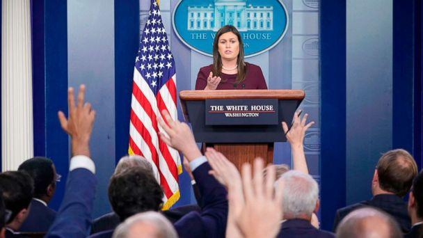PHOTO: White House Press Secretary Sarah Sanders speaks during a briefing in the Brady Briefing Room of the White House, Aug. 14, 2018, in Washington, DC. (Mandel Ngan/AFP/Getty Images)