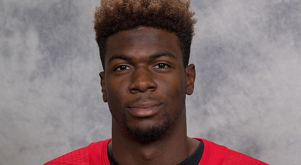 Kitchener Rangers forward Givani Smith was the victim of racist insults and death threats. (Photo by Dave Reginek/NHLI via Getty Images)