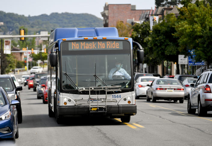 """West Reading, PA - September 14: A BARTA (Berks Area Regional Transportation Authority) bus with the message """"No Masks No Ride"""" displayed on it's digital sign, drives West in the 600 block of Penn Ave in West Reading Monday afternoon September 14, 2020. Masks are required as a precaution against the spread of Coronavirus / COVID-19. (Photo by Ben Hasty/MediaNews Group/Reading Eagle via Getty Images)"""