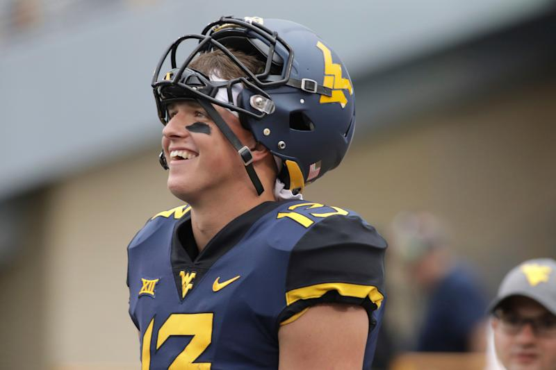 West Virginia wide receiver David Sills V (13) during the first half/second half of an NCAA college football game Saturday, Sept. 8, 2018, in Morgantown, W.Va. (AP Photo/Raymond Thompson)