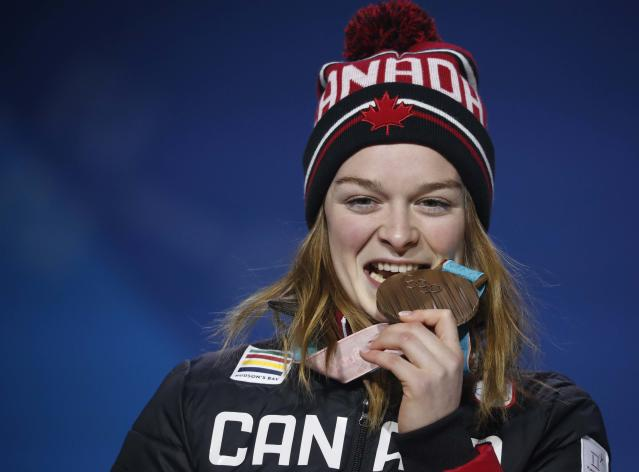 Medals Ceremony - Short Track Speed Skating Events - Pyeongchang 2018 Winter Olympics - Women's 1500m - Medals Plaza - Pyeongchang, South Korea - February 18, 2018 - Bronze medallist Kim Boutin of Canada on the podium. REUTERS/Kim Hong-Ji