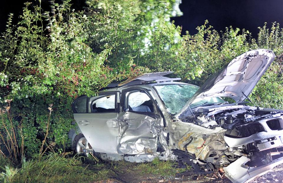 The pensioner's car after Leon Karaloucas crashed in East Sussex. (SWNS)