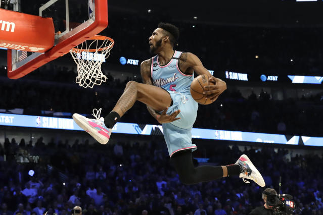 Derrick Jones Jr. picked up a trophy and a sneaker deal in Chicago.(AP Photo/Nam Y. Huh)