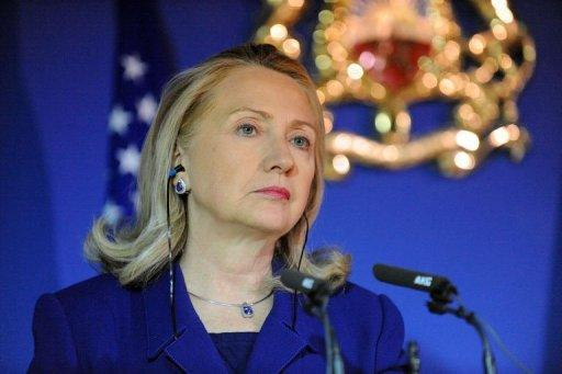 US Secretary of State Hillary Clinton gives a press conference in Rabat February 26