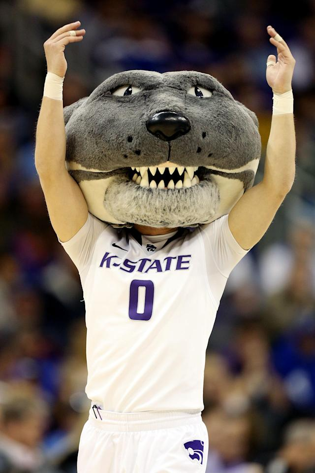 KANSAS CITY, MO - MARCH 22: Willie the Wildcat, mascot of the Kansas State Wildcats, performs in the first half against the La Salle Explorers during the second round of the 2013 NCAA Men's Basketball Tournament at the Sprint Center on March 22, 2013 in Kansas City, Missouri. (Photo by Ed Zurga/Getty Images)